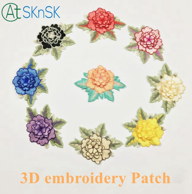 Newest 6pc/3D multicolor lace patch peony applique computer embroidered flower stage clo ...