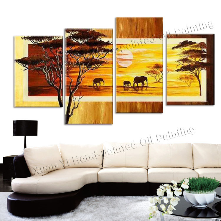 4 Panel Hand-painted Wall Art Elephant Sun <font><b>African</b></font> <font><b>Home</b></font> <font><b>Decoration</b></font> Abstract Landscape Oil painting On Canvas