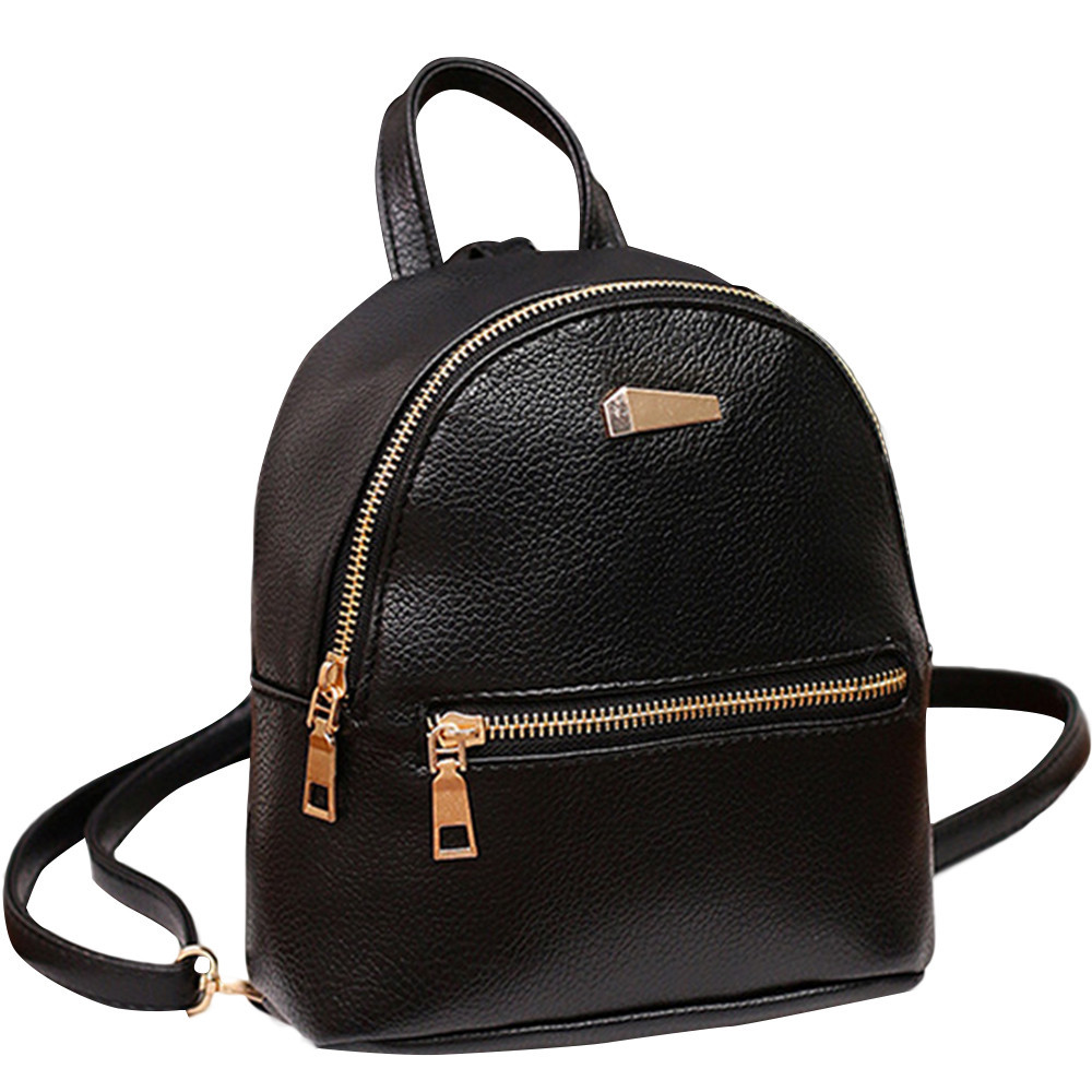 Women Leather Backpack School Rucksack College