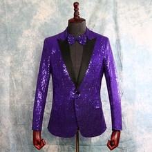 цены на Men's Sequins Rhinestones Blazer Jacket Lapel Bling Jacket Coat Host Sz One Button  в интернет-магазинах