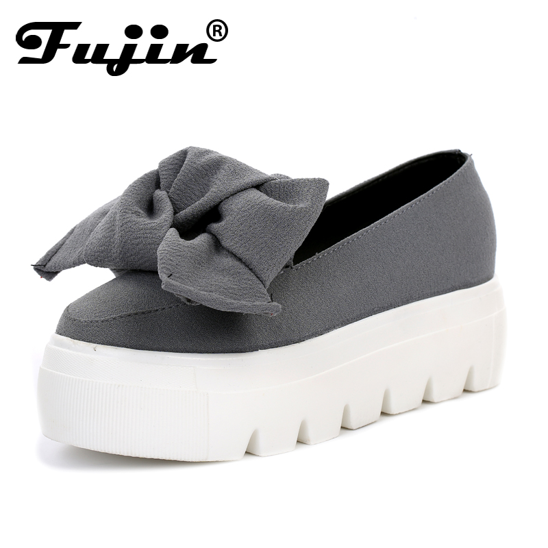 fujin 2017 Autumn spring  moccasin womens flats Fashion creepers shoes Bow lady flats loafers Ladies Slip On Platform 5CM Shoes star pointed toe pearl latest bow slip on flats beautiful ladies shoes suede black bee 2017 women spring autumn european fashion