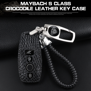Suitable for Mercedes keycap Maybach leather key case leather case S450 S560 S680 key cover shell crocodile leather key case set