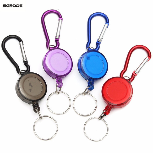1pcs mulitifunctional Multicolor Badge Spreader Carabiner Recoil Retractable Reel Strap Belt Clip Key Chain outdoor tools