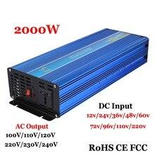 2000 W неэлектрифицирован инвертор синусоидального колебания инвертора, усилитель 4000 W 12 V/24/36/48VDC to110V/220VAC однофазные солнечные или инвертор ветровой энергии