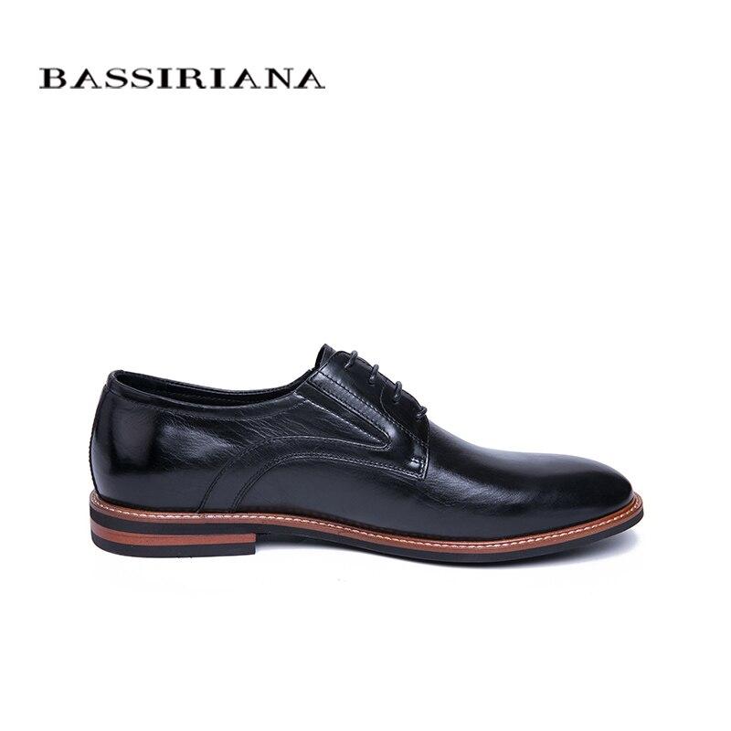 BASSIRIANA 2019 nowe skóra naturalna buty w stylu casual buty męskie formalne Lace up wiosna jesień czarny 39 45 rosyjski rozmiar ręcznie robione w Buty wizytowe od Buty na  Grupa 2