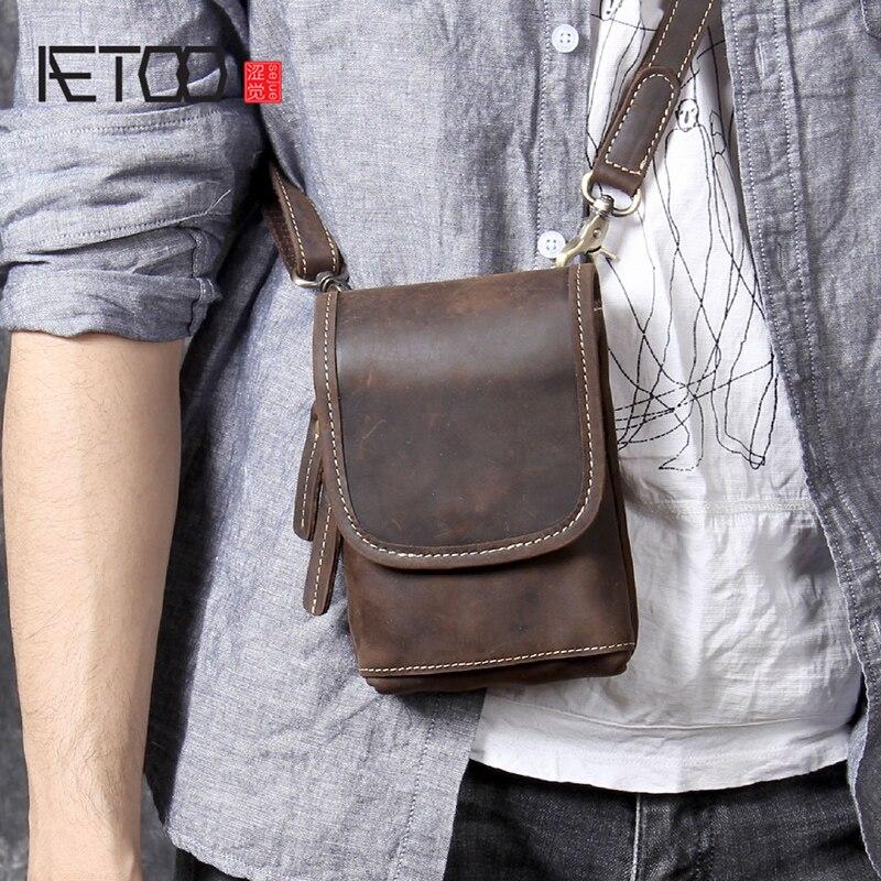 AETOO Mini mad Horse épaule en cuir oblique porter petit sac sac poitrine homme tête originale peau de vache sac téléphone portable ceinture