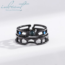 inbeaut 925 Silver Blue Crystal Venice Couple Rings White&Black Romance City Colorful Round Stone Ring for Women Lovers Gift