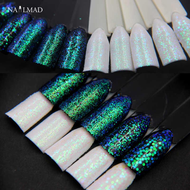 1 Caja Efecto Píxel Brillo De Uñas Sirena Verde Lentejuelas Iridiscentes Brillo De Uñas Manicura Maquillaje Decoración De Uñas