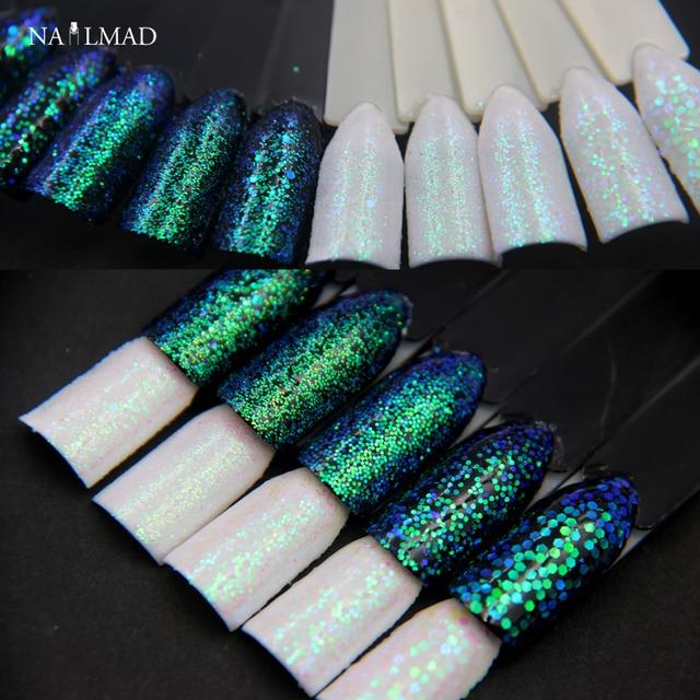 1 caja pixel efecto nail glitters sirena verde brillo Lentejuelas ...
