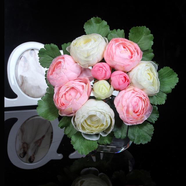 2017 Elegante Novia Con Flores Flores Artificiales Decoración de Flores de Simulación Ramo de Novia Accesorios de La Boda