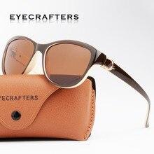 Luxury Brand Designer Brown Cat Eye Polarized Sunglasses Womens Lady Elegant Sun