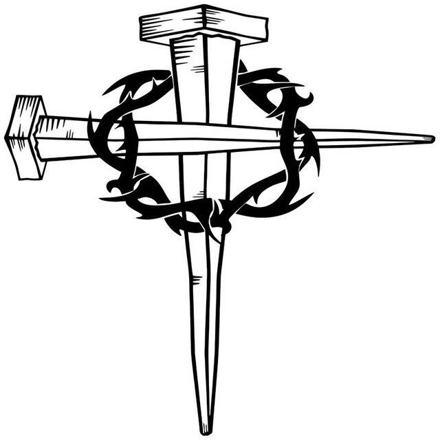 1616CM Jesus Christ Cross Crown Of Thorns GOD Body Decoration Classic Vinyl Decal Car