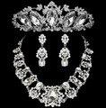 Noble Cristal Joyería Nupcial Fija Grande Declaración Rhinestone Collar Pendientes Tiaras Coronas Conjunto Accesorios Del Vestido de Boda Africana