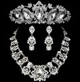 Noble Crystal Bridal Jewelry Sets Big Rhinestone Statement Necklace Earrings Tiaras Crowns Set African Wedding Dress Accessories