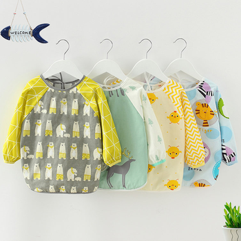 Bandana Bibs Cute Cartoon Baby Bibs Waterproof Infant Eating Children Drawing Long Sleeve Apron Baby Self Feeding Bib