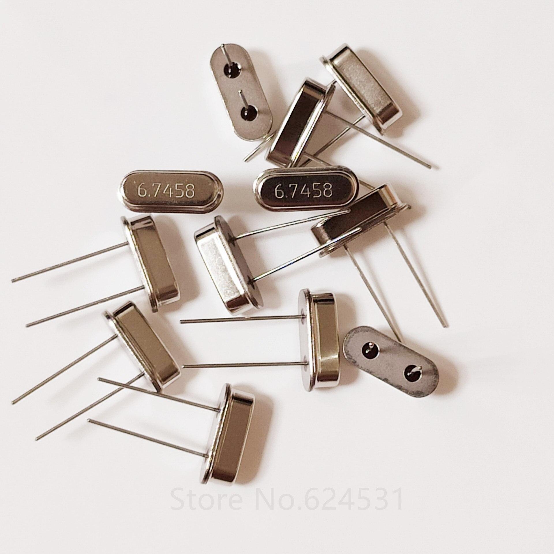10pcs Passive In-Line Crystal Oscillator HC-49S 49S 2 Legs 2P DIP-2 6.7458M 6.7458MHZ Crystal Resonator