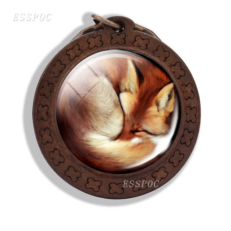 Лисьим брелки для ключей в виде милых животных лиса фото Стекло брелок с кабошоном Деревянный модные аксессуары для Для мужчин Для женщин подарок для влюбленных