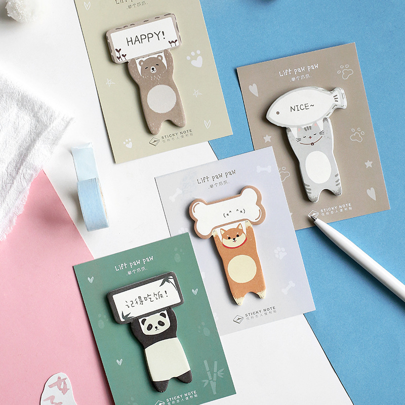 4 Pcs Lift Paw Paw Sticky Note Cartoon Panda Cat Memo Stickers Diary Planner Bookmark Stationery Office School Supplies A6114