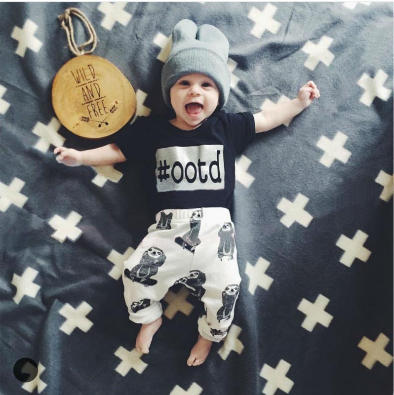 2018 Newborn Baby Baby Boys Clothes Set T-shirt Tops Short Sleeve+Pants 2 pieces Outfits Baby Boy Clothes