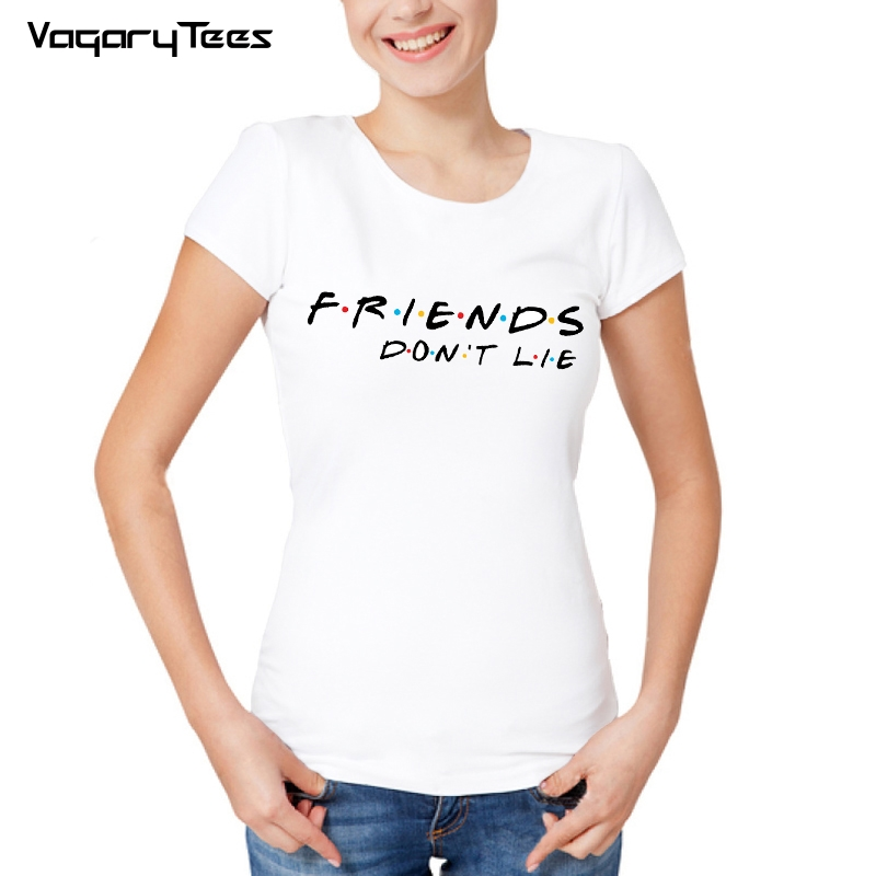 a854fbea80382 Friends don't lie Newest Fashion Friends Logo Women T-Shirt Simple Letters  Friends Printed Short Sleeve White Hipster Cool Tee