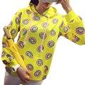 Rosquinhas bonito Impresso Moletom Com Capuz Outono de Patch Bolso Ocasional Das Mulheres Hoodies Moletons Agasalho Amarelo Sudaderas Mujer 2016