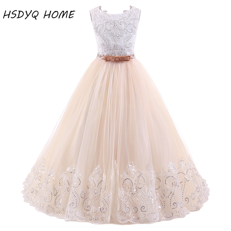 New Arrival Lace   Flower     Girl     Dresses   real photo Ball Gown Long Princess bow floor-length   Girls     Dresses   2017 Free shipping