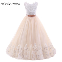 New Arrival Lace Flower Girl Dresses Real Photo Ball Gown Long Princess Bow Floor Length Girls