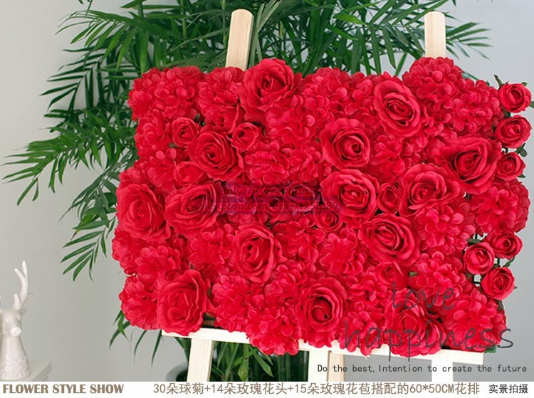 40cm*60cm Romantic Hot Red rose flower wall wedding decoration home decor party flowers wall