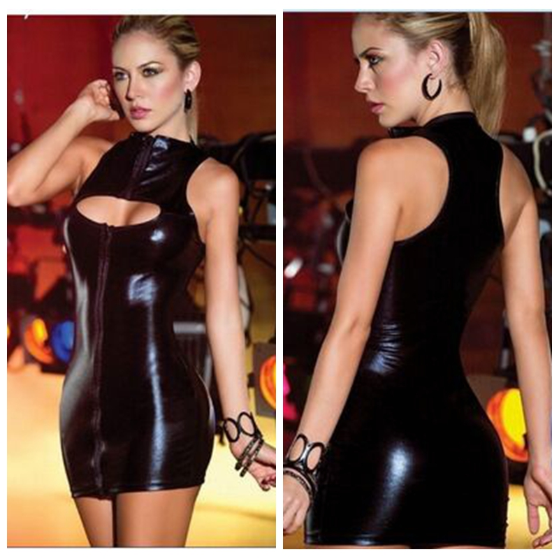 Buy night club stand neck sleeveless imitation leather sexy hollow zipper dresses solid slim latex vestido