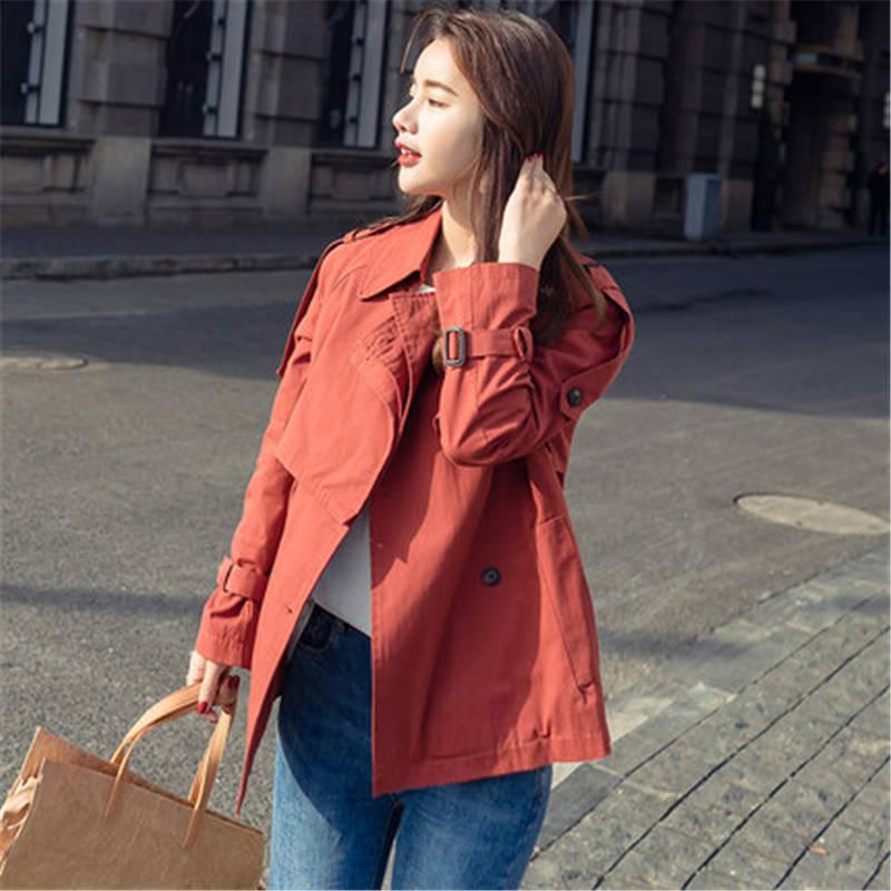 2019 new Women's Spring Autumn Windbreaker Coats Women Short section Korean casual Girls   Trench   Coats Tops X510