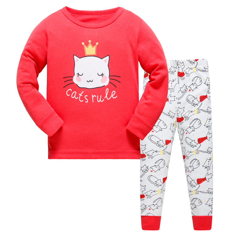 1SET 8R-82, Cat, Children girls pajamas sets, long sleeve sleepwear suit for 3-8Y