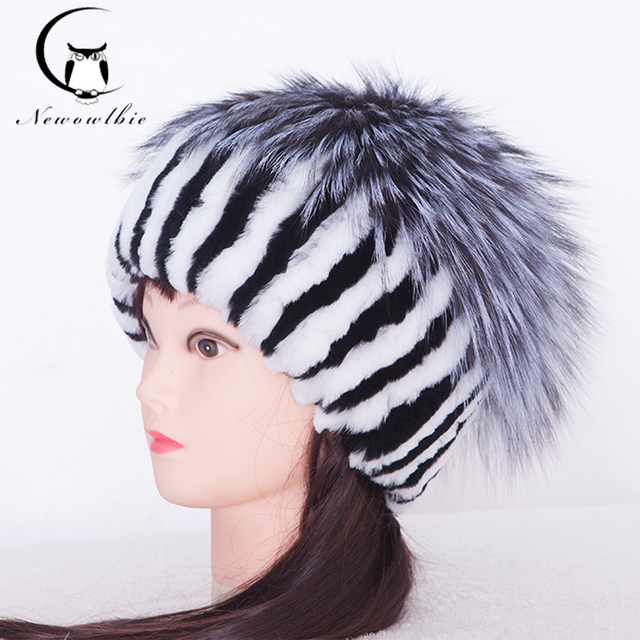Fur Women Hat Pom Poms Winter Ear Cap Rex Rabbit Fur Hat With Fox Fur Good Quality Knitted Fur Hats 2016 Outlook Caps Female