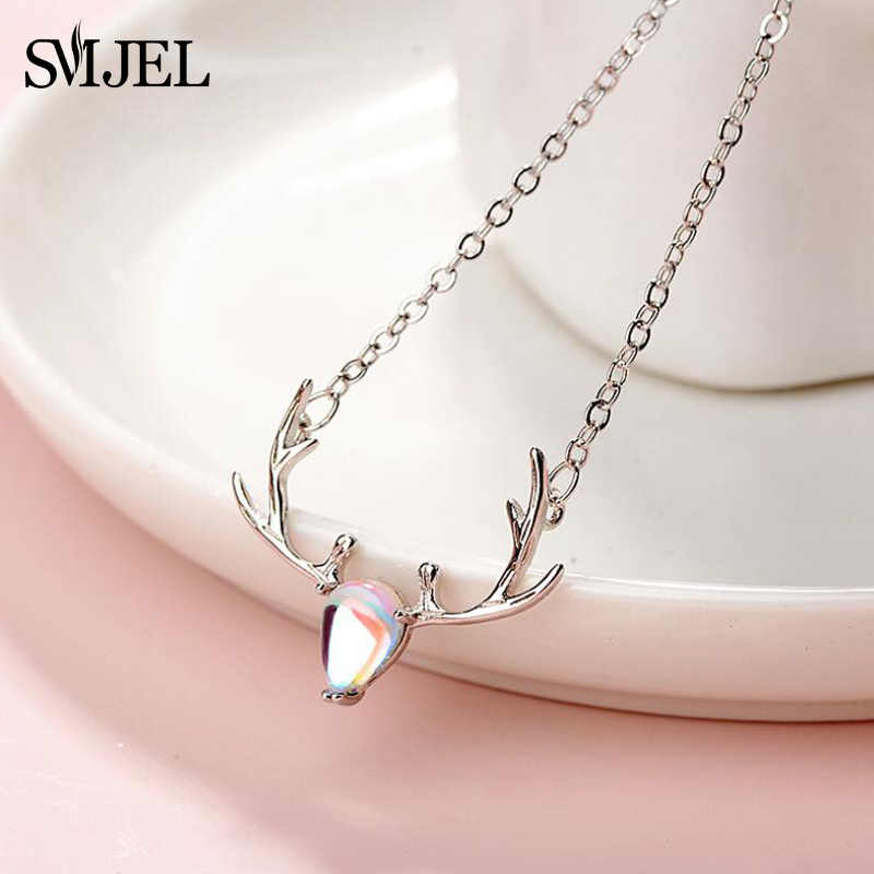 SMJEL Vintage Elk Deer Head Pendants & Necklaces Female Moonstone Necklace Choker Clavicle Silver 925 Jewelry New Year Gifts
