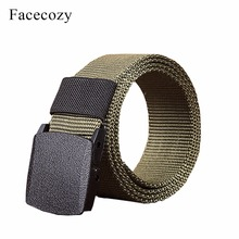 Facecozy Men Outdoor Canvas Belt Hiking Camping Safety Waist Support Hunting Sports Wearable Breathable Military Tactical Belt
