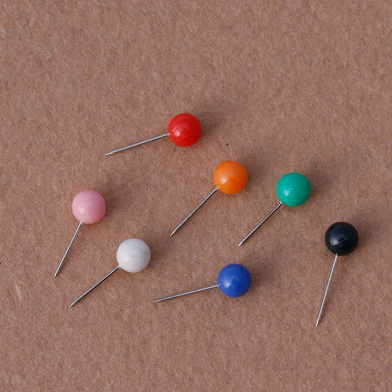 50Pcs/bag Round Pearl Head Pins Fishing Line Brooches Multicolor Fishing Tackle