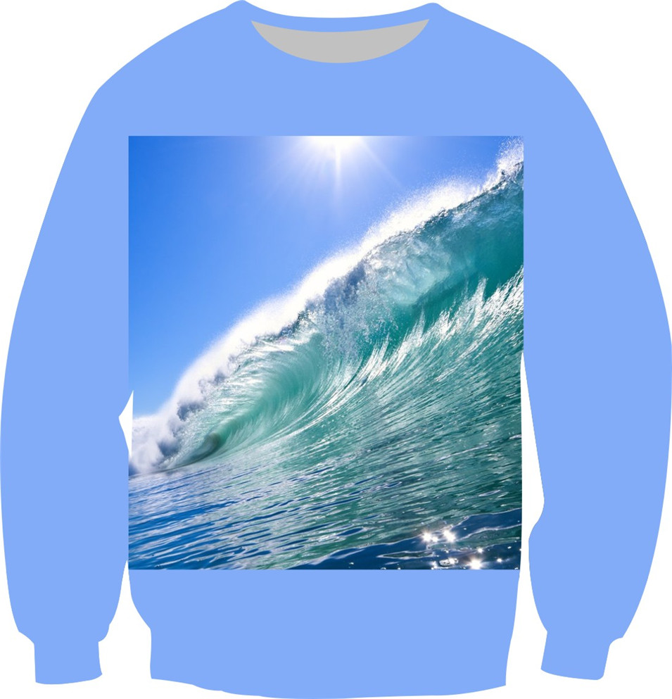 Autumn New Creative 3D Galaxy Sweatshirt Hoodies Two Side Print Blue Sky Sea Design Women Men Crewneck Pullovers Sport Suits