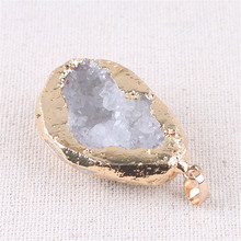 Irregular Natural Stone For Jewelry Making Pendants Pendulum Gold Plating Crystal Druzy Sparkling Opal