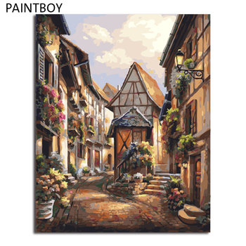 PAINTBOY Wall Art Framed Picture Painting By Numbers DIY Digital Canvas Oil Painting Home Decor Of Autumn Landscape