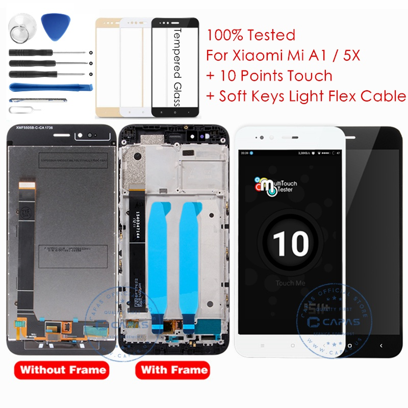 Xiaomi Mi A1 LCD Display + Frame 10 Touch Screen Xiaomi Mi 5X LCD Digitizer Assembly TouchScreen Panel Replacement Spare Parts(China)