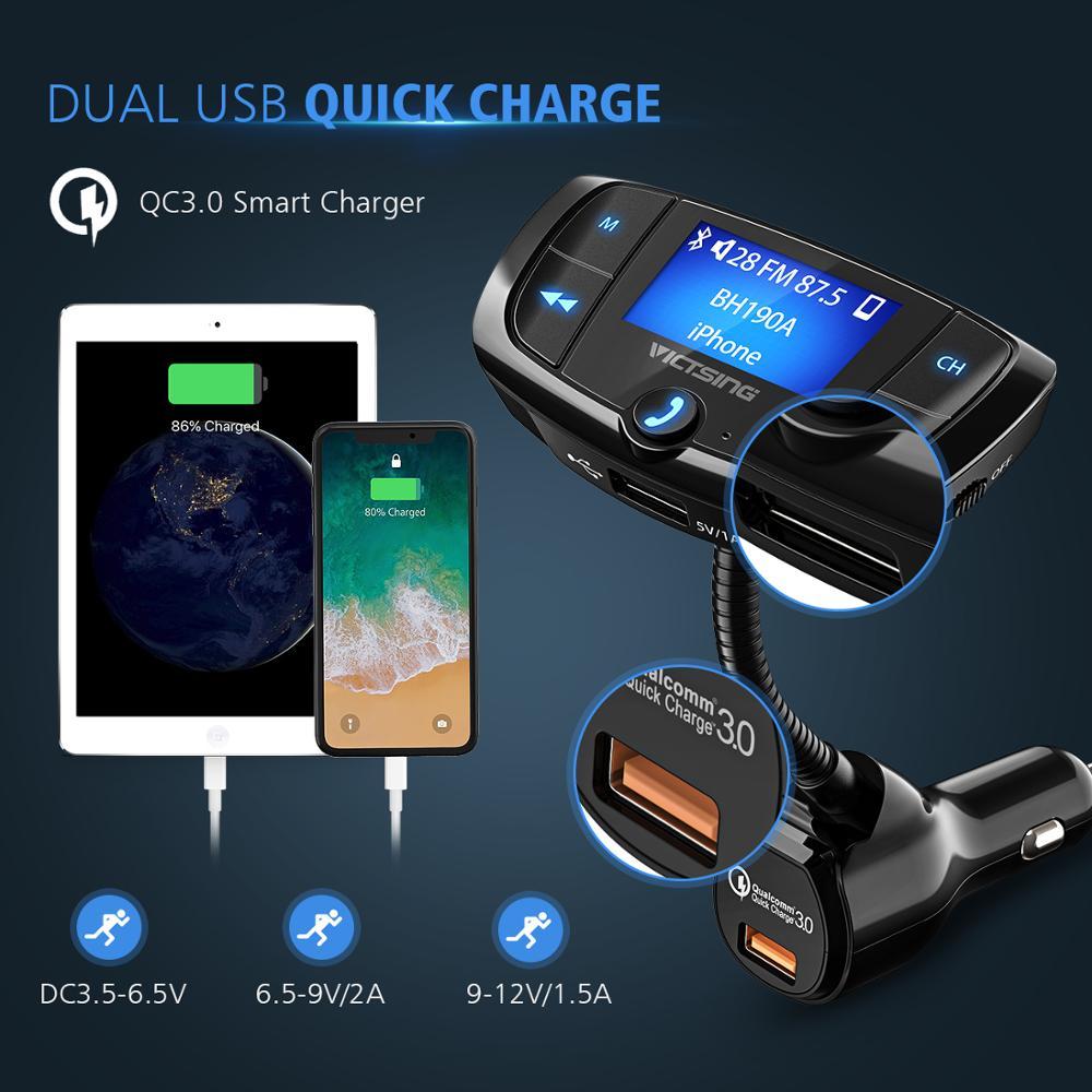 מקרנים ופלאזמות VicTsing Bluetooth FM משדר רכב אלחוטי רדיו Bluetooth מתאם QC3.0 Dual USB משחק MP3 Quick Charge עם 1.44? Display (4)