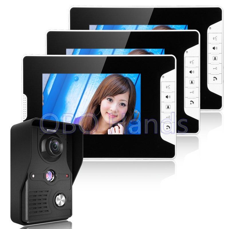 7'' Color Video door phone Intercom Doorbell System Kit IR Camera Doorphone Monitor Speakerphone Intercom 3 Monitor+1 Camera