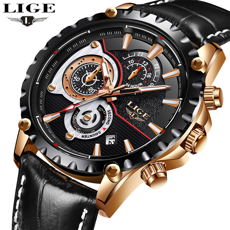 Top Luxury Brand LIGE Men Watch Quartz Chronograph Watch Mens Sports Watches Leather Waterproof Fashion Clock Relogio Masculino new listing men watch luxury brand watches quartz clock fashion leather belts watch cheap sports wristwatch relogio male gift