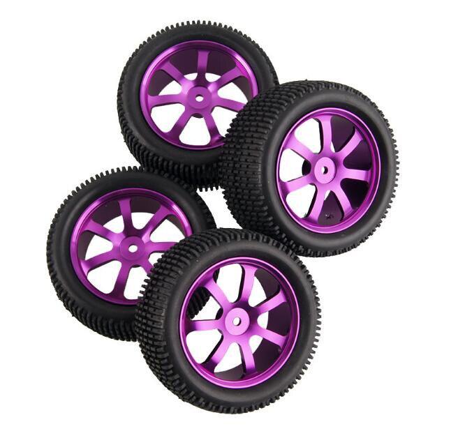 무료 배송 4 pcs 1/10 rc 오프로드 트럭 타이어 고무 타이어 알루미늄 합금 바퀴 맞는 henglong kysho hsp 94106/166/107 버기-에서부품 & 액세서리부터 완구 & 취미 의  그룹 1