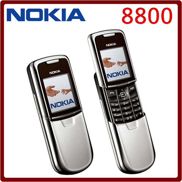 Original Nokia 8800 Mobile Phone English / Russian keyboard GSM FM Bluetooth Phone Gold Silver Black One year warranty feature phone