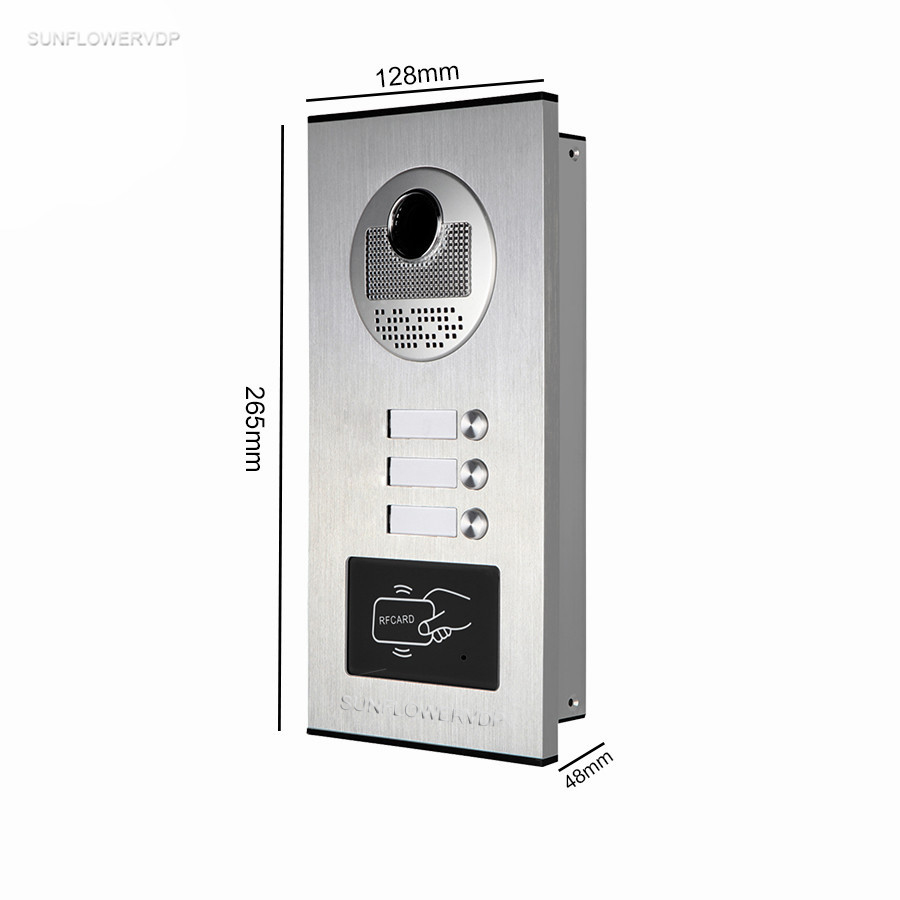 Rfid Video Intercoms Electronic Doorman With Camera 7 Color Monitor Doorbell For An Apartment Of 3 Units Doorphone With Lock