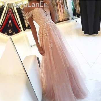 Robe De Soiree Pink 2019 Prom Dresses A-Line Off the Shoulder Sweetheart Beaded Lace Tulle Long Prom Gown Evening Party Dresses