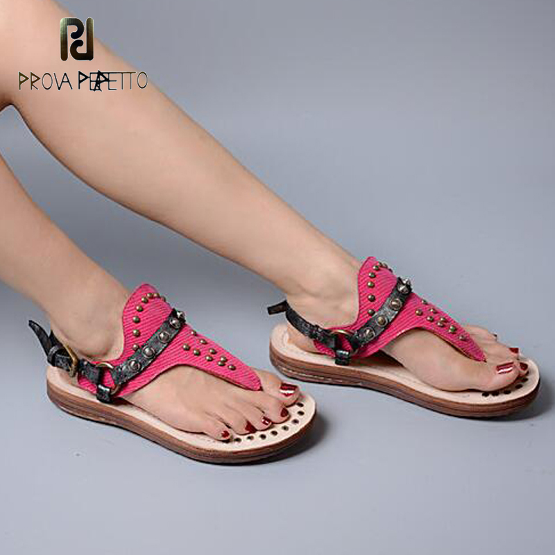 Prova Perfetto New Style Girl Sandal Shoe Sweet Fashion Rivets Studded Top Quality Chic Shoe in Summer Thong Flip Flop Shoe
