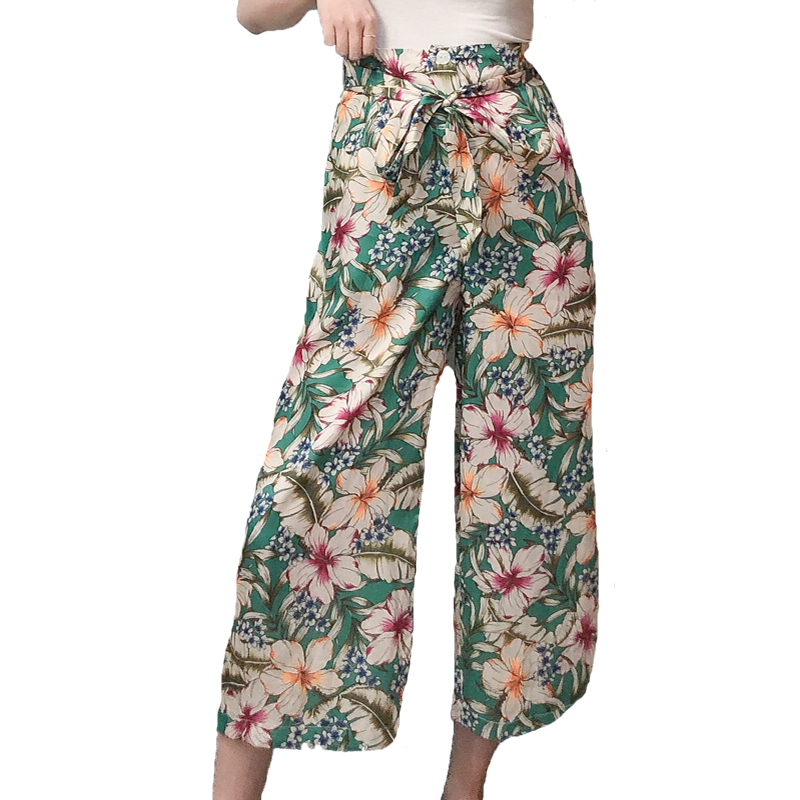 Summer 2019 casual green   pants   women print womens clothing   wide     leg     pants   high waist   pants