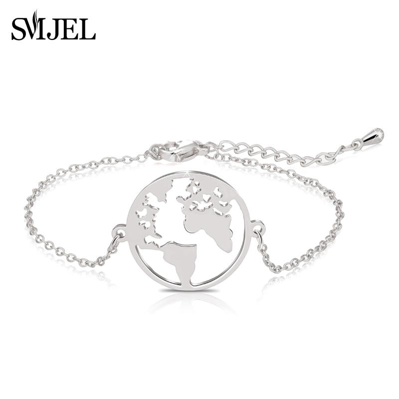 SMJEL Trendy World of Map Bracelets Sliver Wrap Hand Bracelet Stainless Steel Jewelry Traveler Gift Friendship bangle femme|Chain & Link Bracelets|   - AliExpress