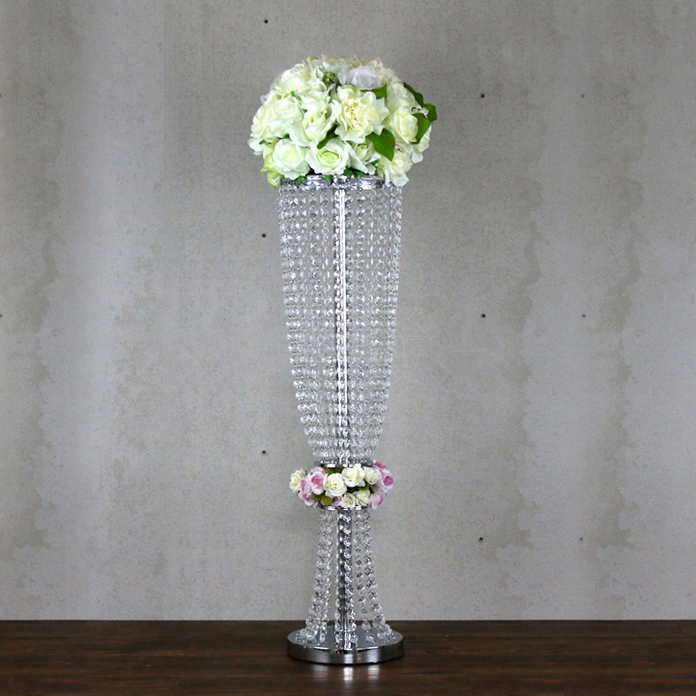 80cm Tall Wedding Flower Vase Metal Trumpet Vase For: 80cm Tall Crystal Table Centerpiece Silver Table